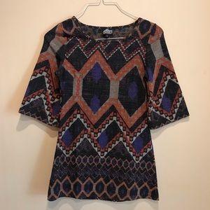 Angie A Line Boho Print Bell Sleeve dress Size Sm